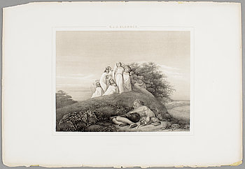 "NILS JAKOB OLSSON BLOMMÉR, gravyrer, 9 st, ""NJO Blommérs taflor"" Högbergska boktryckeriet, Stockholm, 1854."