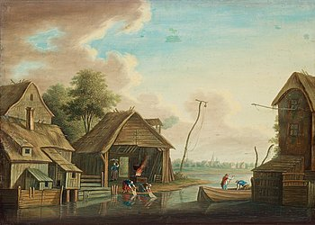 226. JOHAN PHILIP KORN, Landscape with figures.