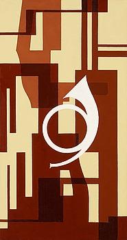 """76. Otto G Carlsund, """"Fuga i brunt - projekt till väggmålning för musikrum"""" (Wallpainting For Musicroom)."""