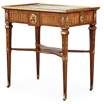 411. A Gustavian table signed by G Iwersson. Probably private property of Crown Prince Karl (XIV) Johan or Oscar (I).