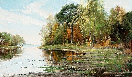 Arvid mauritz lindström, lakeside landscape in autumn.