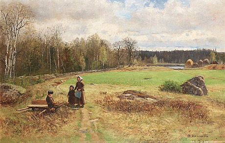 Olof hermelin, spring landscape with figures.