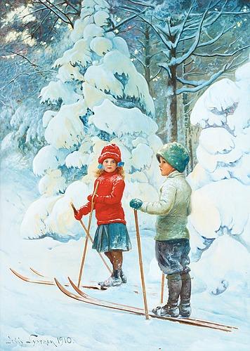 Jenny nyström, skiing children.