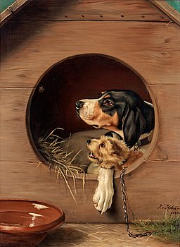 JOHAN VON HOLST, In the doghouse. Signed J. v. Holst and dated 1884. Canvas 79.5 x 59.5 cm.