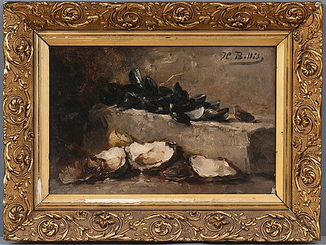 Hubert bellis, still life with clams.
