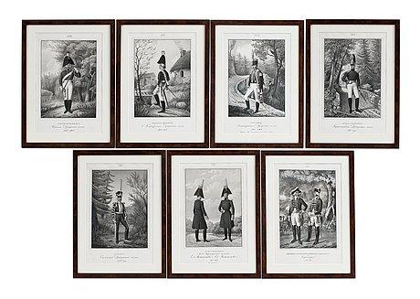A set of seven lithographs.