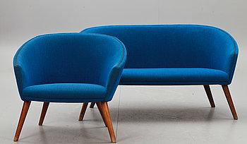 265987. SOFFA MED FÅTÖLJ, design Nanna Ditzel 1950-tal, för A.P StolenAnker Petersens Möbelfabrik.