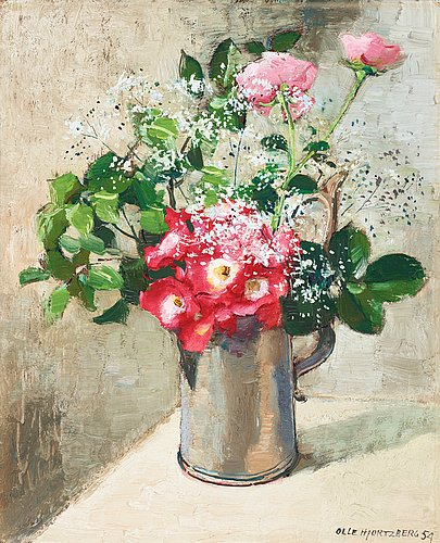 Olle hjortzberg, still life with roses and gypsophila.