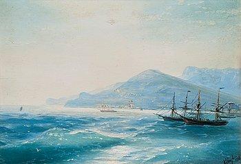 10. Ivan Konstantinovich Aivasovsky, SHIPS NEAR THE COAST.
