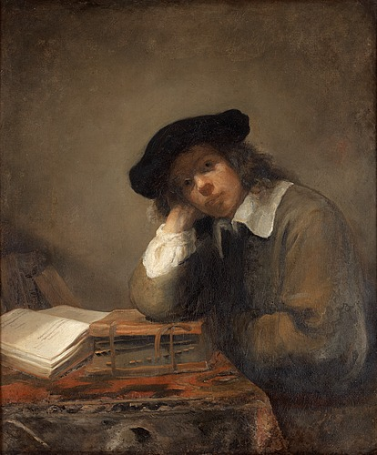 Samuel van hoogstraten attributed to, portrait of a studying youth (possibly a self portrait).