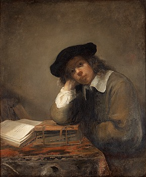 404. Samuel van Hoogstraten Attributed to, Portrait of a studying youth (Possibly a self portrait).