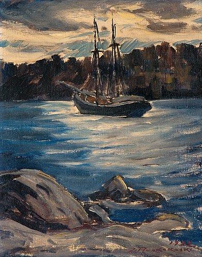 Jalmari ruokokoski, at anchor in a deserted creek.