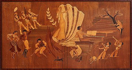 Intarsiatavla, troligen mjölby intarsia, 1900-tal.