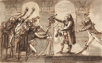 355. Johan Tobias Sergel, Gallodier give out keys to the cellar to the thirsty guests.
