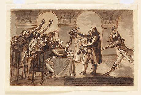 Johan tobias sergel, gallodier give out keys to the cellar to the thirsty guests.