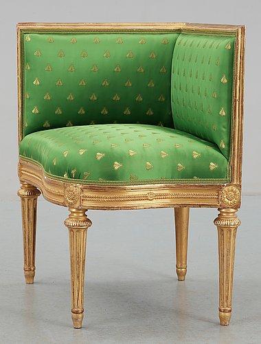 HÖrnstol, sannolikt av erik Öhrmark och jean baptiste masreliez. sengustaviansk, omkring 1790.