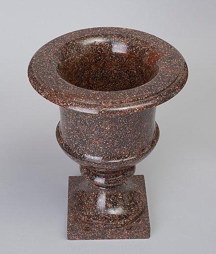 A swedish first half 19th century porphyry urn.