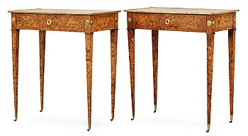 426. A pair of Gustavian tables signed by A. Lundelius and dated 1785.
