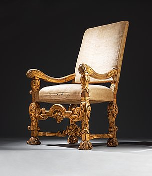 445. The Audience chair of the Swedish Dowager Queen Hedvig Eleonora (1636–1715) from the Palace Drottningholm 1709.