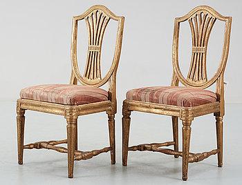 267769. STOLAR, ett par, gustavianska, Johan Lindgren, verksam i Stockholm 1770-1800, märkta ILG.