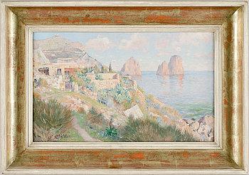 AXEL LINDMAN, olja på pannå, sign daterad Capri 1892.
