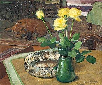 OLLE HJORTZBERG, Interiör med gula rosor och sovande hund.