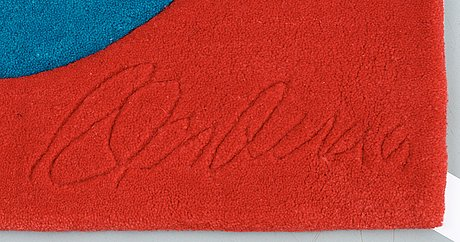 """Carpet. """"red on blue"""", chosen love. tufted in 1995. 182,5 x 184 cm. robert indiana, usa, born in 1928."""
