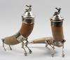 Dryckeshorn, ett par, horn samt nysilver. 1800-talets slut.