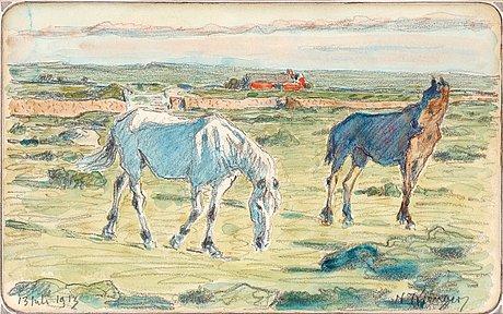 Nils kreuger, horses on Öland.