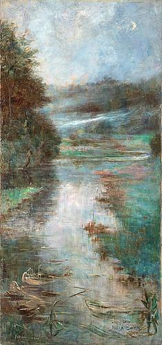Julia beck, misty river landscape, normandy.