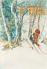 """Carl larsson, """"skidlöperska / flicka spänner på sig skidorna""""."""