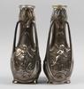 Vaser, ett par, tenn, jugend, signerade j. garnier.