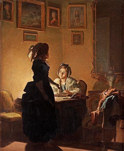 """Pehr hilleström, """"ett fruent: läser vid ljus och ett annat står och förmanar henne""""."""