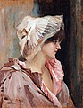 ALBERT EDELFELT, Parisian Lady in Peignoir....