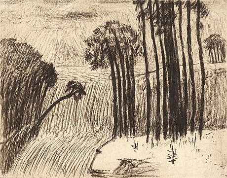Carl fredrik hill, landscape with trees and waterfall.