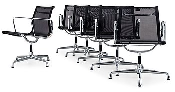 103. A set of six Charles and Ray Eames 'Aluminium Group chairs EA 108' by Vitra.