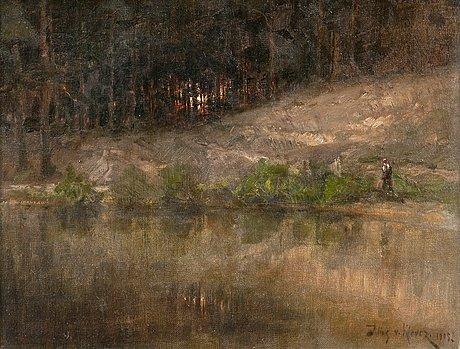 Julius von klever, a forest stream.