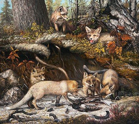 Teppo terä, fox cubs near the den.