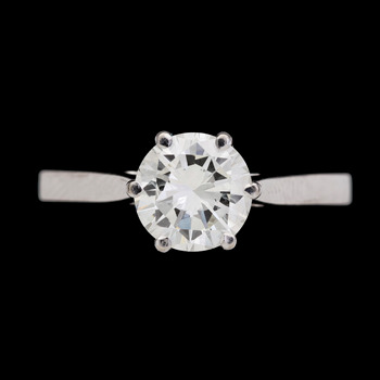 12. RING, brilliant cut diamond, app. 1.40 ct.