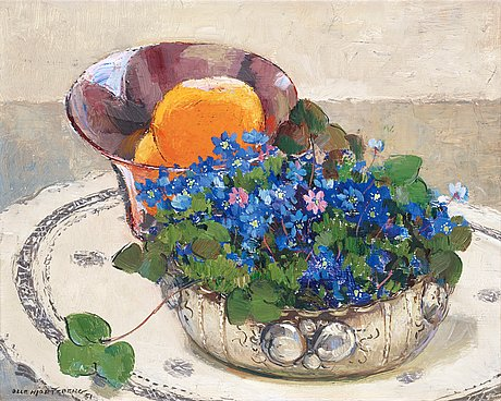 Olle hjortzberg, still life with hepatica and oranges.