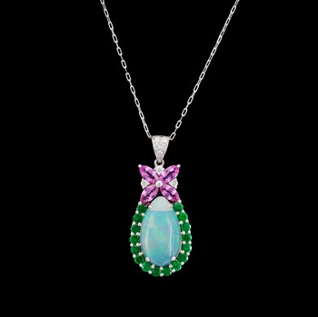 1. An opal, 3.36 cts, pink sapphire and brilliant cut diamond pendant, tot. 0.15 cts.
