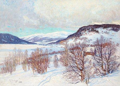 Anton genberg, vinter landscape from jämtland.