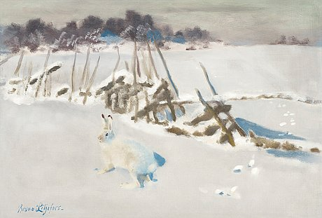 Bruno liljefors, winter landscape with hare by fence.