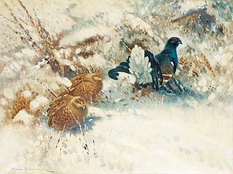 Mosse stoopendaal, winter landscape with blackcock and hens.
