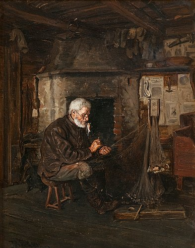 Adolf von becker, repairing the fishing net.