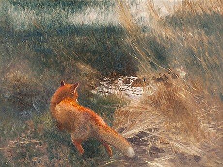 Bruno liljefors, fox stalking mallards.