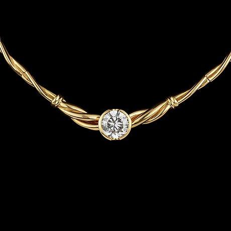 Collier, briljantslipad diamant, 3.77 ct, infattad i guldcollier.