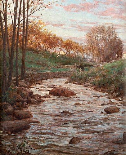 Johan krouthén, autumn landscape with bridge over stream.