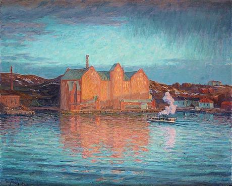 """Prins eugen, """"saltsjökvarn, vårafton 1907"""" (saltsjö mill, spring 1907)."""
