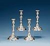A set of four swedish 18th century silver candlesticks, makers mark of jonas thomasson ronander, stockholm 1761.